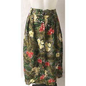 Green Print Skirt Size 14